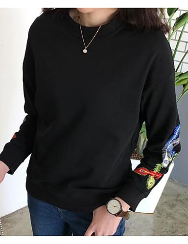 Damen Pullover Lässig/Alltäglich Einfach Druck Rundhalsausschnitt Mikro-elastisch Baumwolle Polyester Lange Ärmel Herbst Frühling