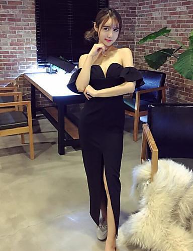Damen Hülle Kleid-Party Solide Bateau Maxi Kurzarm Baumwolle Sommer Mittlere Hüfthöhe Mikro-elastisch Dünn