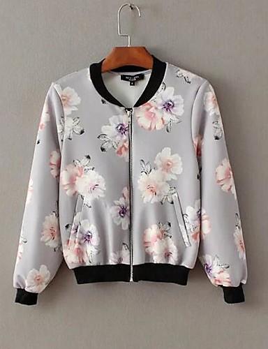 Damen Solide Einfach Ausgehen Jacke,Hemdkragen Frühling Herbst Lange Ärmel Standard Andere