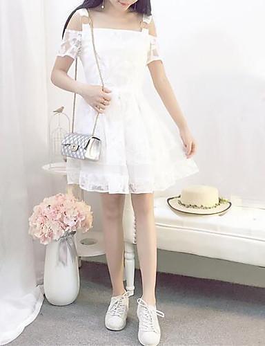 Damen Hülle Kleid-Lässig/Alltäglich Solide Gurt Übers Knie Kurzarm Polyester Sommer Mittlere Hüfthöhe Mikro-elastisch Mittel