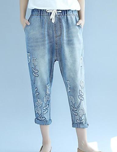 Damen Einfach Mittlere Hüfthöhe Mikro-elastisch Jeans Breites Bein Hose Druck