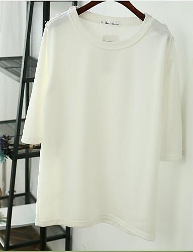 Damen Pullover Lässig/Alltäglich Einfach Solide Druck Rundhalsausschnitt Mikro-elastisch Baumwolle Lange Ärmel Frühling Herbst