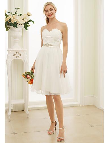A-vonalú / Hercegnő Szív-alakú Térdig érő Csipke / Organza Made-to-measure esküvői ruhák val vel Kristály díszítés / Selyemövek / Szalagok
