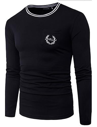 Herren Schachbrett Einfach Lässig/Alltäglich T-shirt,Rundhalsausschnitt Langarm Baumwolle