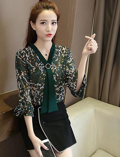Damen Druck Einfach Lässig/Alltäglich Bluse,V-Ausschnitt Halbe Ärmel Baumwolle