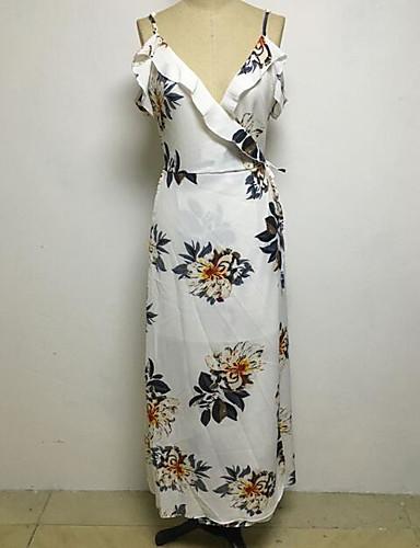 Damen Hülle Kleid-Lässig/Alltäglich Druck V-Ausschnitt Midi Ärmellos Polyester Sommer Mittlere Hüfthöhe Mikro-elastisch Dünn