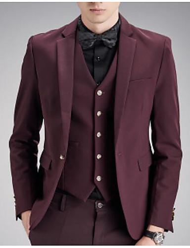 Herren Solide Einfach Arbeit Party/Cocktail Anzug,Steigendes Revers Herbst Winter Lange Ärmel Standard Polyester