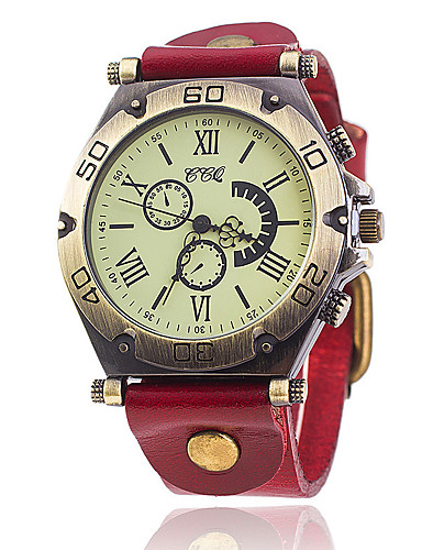 Herrn Quartz Armband-Uhr Chinesisch Schlussverkauf Leder Band Retro Freizeit Einzigartige kreative Uhr Elegant Modisch Schwarz Weiß Blau