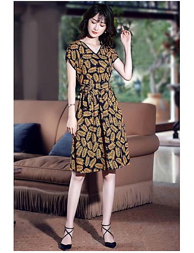 Damen Swing Kleid-Ausgehen Niedlich Druck V-Ausschnitt Knielang Kurzarm Polyester Sommer Mittlere Hüfthöhe Mikro-elastisch Mittel