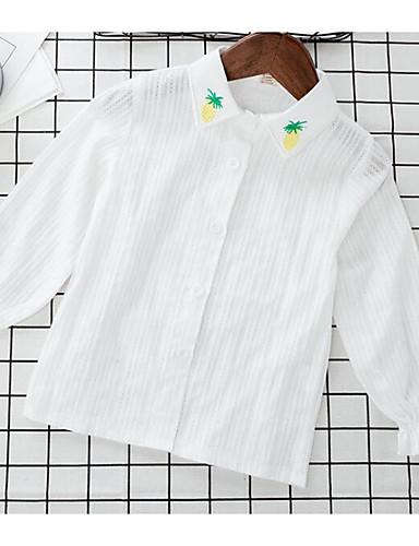 Jungen Hemd einfarbig Baumwolle Polyester Sommer Lange Ärmel Normal