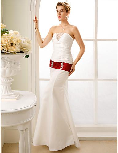 Sellő fazon Pánt nélküli Földig érő Taft / Sztreccs szatén Made-to-measure esküvői ruhák val vel Gyöngydíszítés / Ráncolt által LAN TING