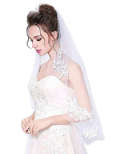 One-tier Cut Edge Wedding Veil Elbow Veils with Appliques Tulle / Classic