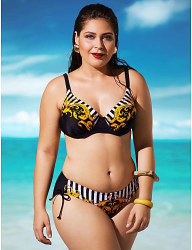 Frauen Boho Neckholder Bügel Bikini - gestreift, rückenfreie Tanga
