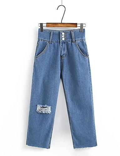 Damen Street Schick Hohe Hüfthöhe Mikro-elastisch Jeans Gerade Hose,Ripped Solide
