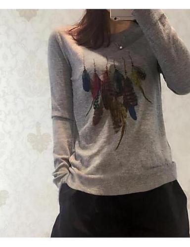 Damen Kurz Pullover-Lässig/Alltäglich Druck Rundhalsausschnitt Langarm Wolle Baumwolle Frühling Herbst Mittel Mikro-elastisch