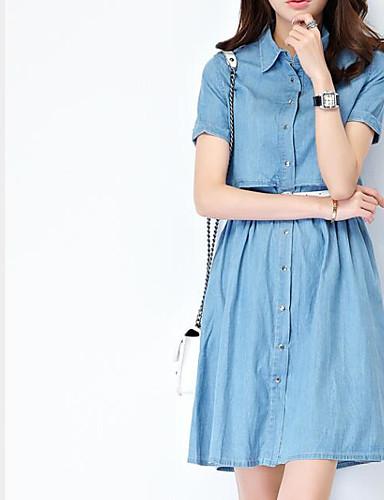 Damen A-Linie Hülle Jeansstoff Kleid - Gespleisst, Solide Hemdkragen Hohe Hüfthöhe