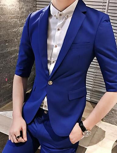 Herren Solide Street Schick Ausgehen Lässig/Alltäglich Blazer,Steigendes Revers Frühling Halbe Ärmel Standard Polyester