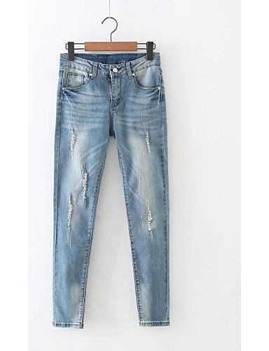 Damen Street Schick Mittlere Hüfthöhe Mikro-elastisch Eng Schlank Jeans Hose,Baumwolle Leinen Winter Frühling Sommer Herbst Solide