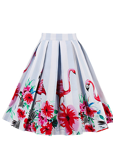 Women's Going out Holiday Cotton A Line Skirts - Floral
