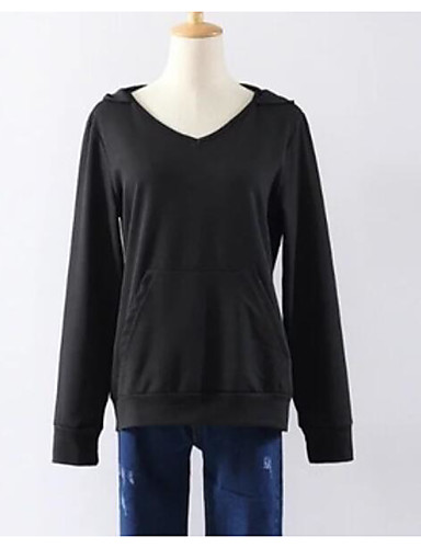 Damen Kapuzenshirt Lässig/Alltäglich Einfach Solide Mikro-elastisch Baumwolle Lange Ärmel Herbst