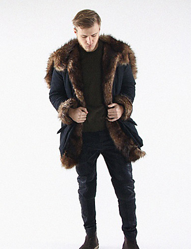 Men's Work Long Loose Fur Coat - Solid Colored