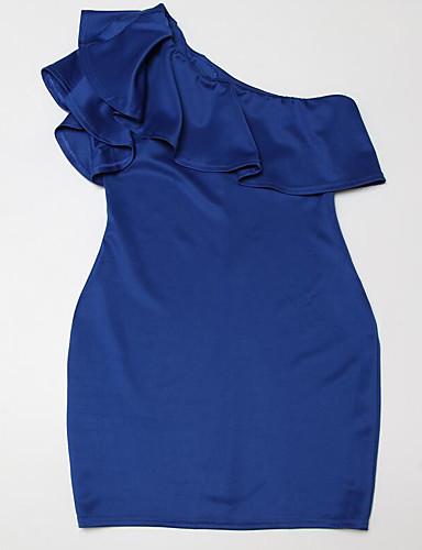 Damen Bodycon Kleid-Lässig/Alltäglich Solide Ein-Schulter Übers Knie Ärmellos Nylon Sommer Mittlere Hüfthöhe Mikro-elastisch Dünn