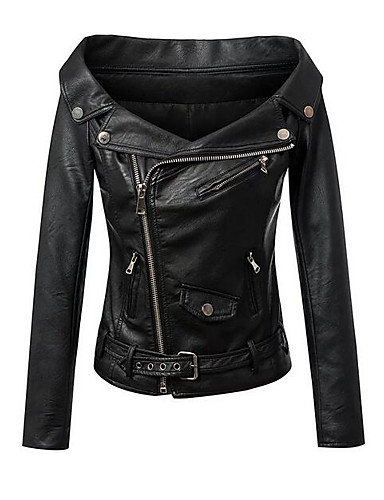 Women's Leather Jacket - Solid Colored Shirt Collar