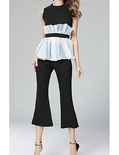 Damen Solide Spitze Street Schick Ausgehen T-Shirt-Ärmel Hose Anzüge,Rundhalsausschnitt Sommer Ärmellos Rückenfrei Unelastisch