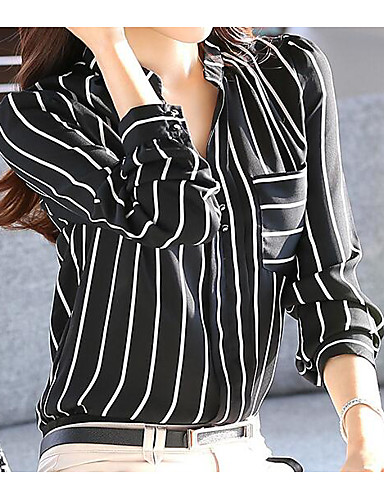 نساء قميص كاجوال/يومي بسيط مخطط ربيع رقبة V كم طويل بوليستر