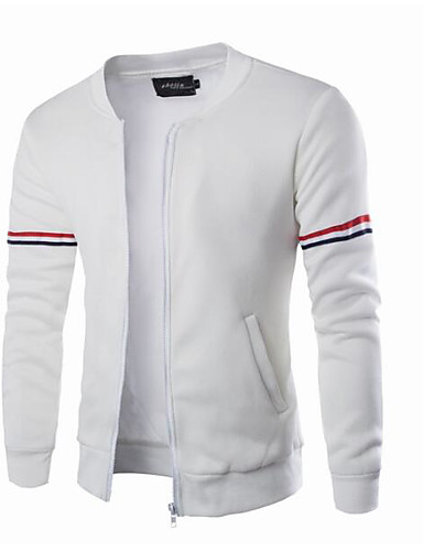 Men's Daily Simple Casual Spring Fall Jacket,Solid Round Neck Long Sleeve Regular Cotton
