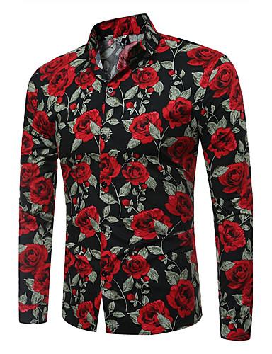 Недорогие Винтажный образы-Муж. С принтом Рубашка Тонкие Винтаж Цветочный принт Белый XL / Длинный рукав
