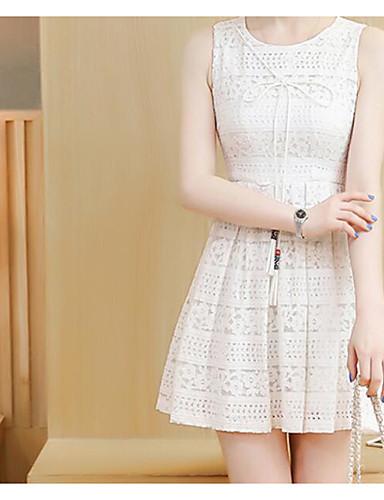 Damen A-Linie Hülle Kleid - Spitze, Solide Stickerei Hohe Hüfthöhe