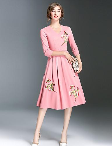 Damen Alltag Ausgehen Freizeit Anspruchsvoll Street Schick A-Linie Hülle Swing Midi Kleid Stickerei V-Ausschnitt 3/4 Ärmel Herbst