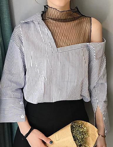 Damen Gestreift Einfarbig Street Schick Ausgehen Hemd,Rundhalsausschnitt 3/4 Ärmel Andere