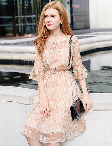YHSP Women's Cute Sophisticated Petal Sleeve A Line Sheath Chiffon Dress - Floral Ruffle Ruched