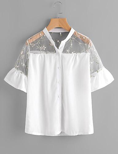 Damen Solide Street Schick Ausgehen Lässig/Alltäglich Hemd,Ständer Frühling Sommer Kurzarm Baumwolle Dünn