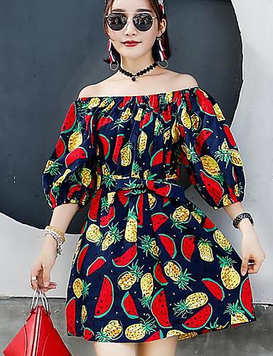 صيف بوليستر كم قصير فوق الركبة باتو طباعة فستان غمد ذهاب للخارج نساء,وسط مطاطي صغير رقيق