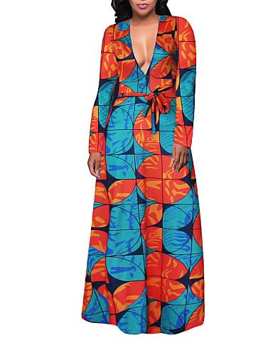 Damen Übergrössen Boho Hülle Swing Kleid - Druck Maxi Tiefes V Hohe Hüfthöhe