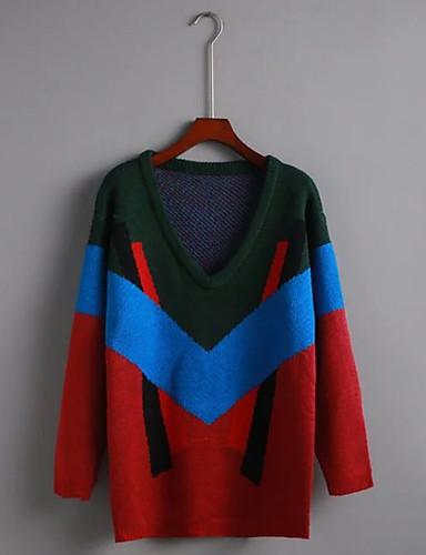 Damen Standard Pullover-Ausgehen Lässig/Alltäglich Einfach Geometrisch Einfarbig V-Ausschnitt Langarm Acryl Andere Winter Herbst Dünn