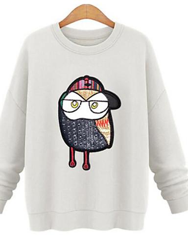 Damen Pullover Lässig/Alltäglich Einfach Solide Druck überdimensional Rundhalsausschnitt Mikro-elastisch Baumwolle Lange Ärmel Winter