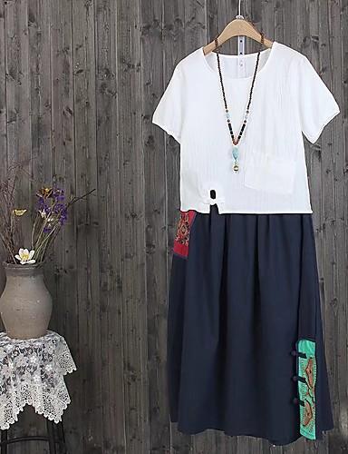 Damen Solide Einfach Niedlich Ausgehen Lässig/Alltäglich T-shirt,Rundhalsausschnitt Sommer Herbst Kurzarm Baumwolle Leinen Dünn Mittel