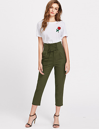 Women's Street chic Straight Chinos Pants - Solid Colored