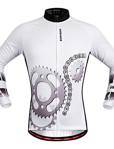 cheap Cycling Clothing-WOSAWE Men's Women's Long Sleeve Cycling Jersey - White Bike Jersey Top Quick Dry Sports Polyester Mountain Bike MTB Road Bike Cycling Clothing Apparel / Stretchy / Advanced / Advanced