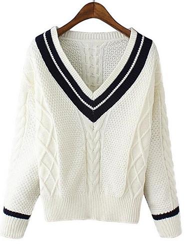 Damen Standard Pullover-Lässig/Alltäglich Einfach Solide V-Ausschnitt Langarm Baumwolle Herbst Winter Mittel Mikro-elastisch