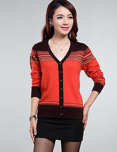Damen Standard Strickjacke-Lässig/Alltäglich Gestreift V-Ausschnitt Langarm Nylon Herbst Winter Mittel Mikro-elastisch