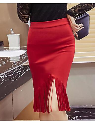abordables Jupes-Femme Chic de Rue Sortie Moulante Jupes - Couleur Pleine Franges Fendue Noir Rouge S M L