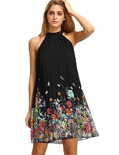 Damen A-Linie Kleid-Lässig/Alltäglich Solide Blumen Halter Übers Knie Ärmellos Polyester Frühling Mittlere Hüfthöhe Mikro-elastisch Mittel