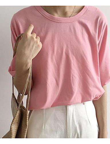 Damen Solide - Einfach Baumwolle T-shirt