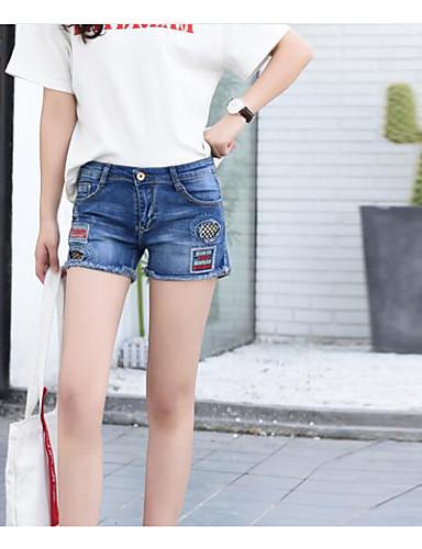 Damen Einfach Hohe Hüfthöhe Mikro-elastisch Kurze Hosen Gerade Hose Solide
