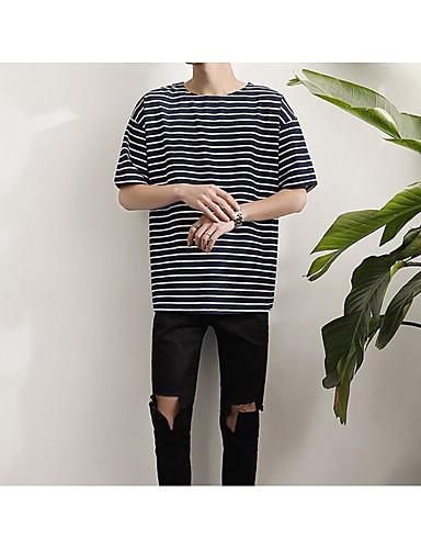 Herren Solide Druck Einfach Ausgehen Lässig/Alltäglich T-shirt,Rundhalsausschnitt Kurzarm Baumwolle
